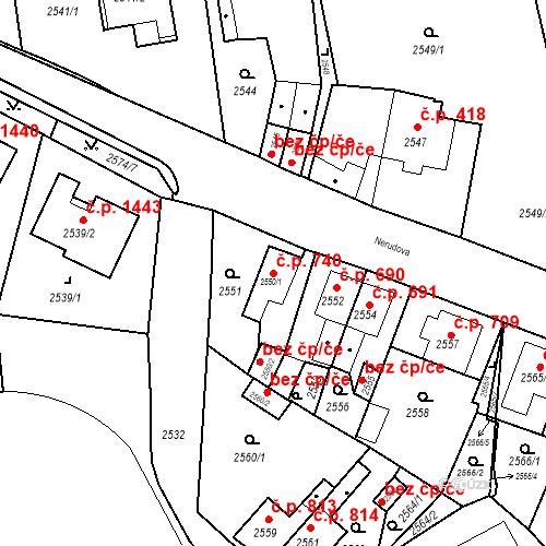 Katastrální mapa Stavební objekt Jirkov 740, Jirkov