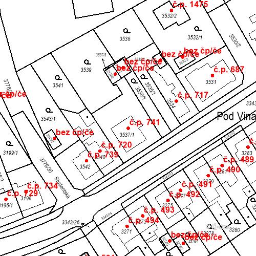 Katastrální mapa Stavební objekt Jirkov 741, Jirkov