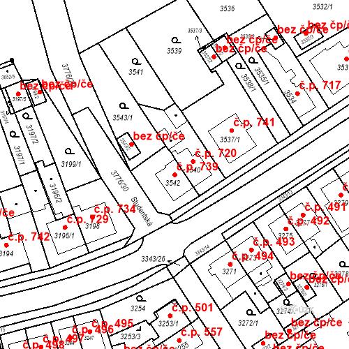 Katastrální mapa Stavební objekt Jirkov 739, Jirkov