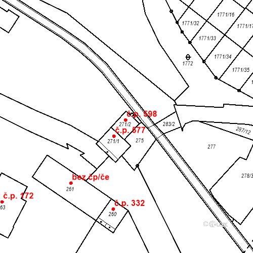 Katastrální mapa Stavební objekt Vimperk II 598, Vimperk