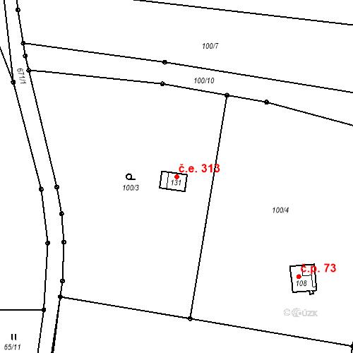 Katastrální mapa Stavební objekt Hrabice 313, Vimperk