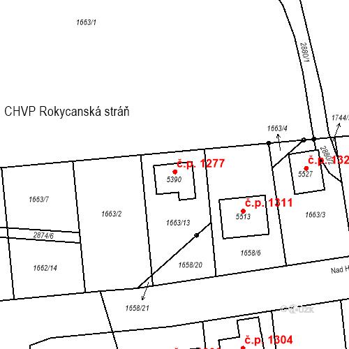 Katastrální mapa Stavební objekt Nové Město 1277, Rokycany