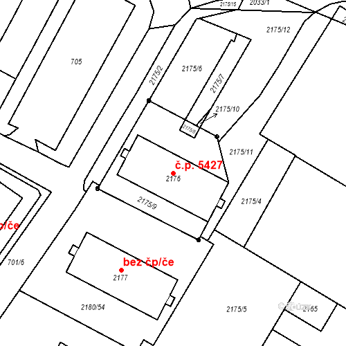 Katastrální mapa Stavební objekt Chomutov 5427, Chomutov