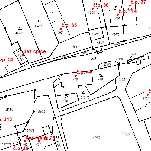 Katastrální mapa Stavební objekt Březenec 44, Jirkov