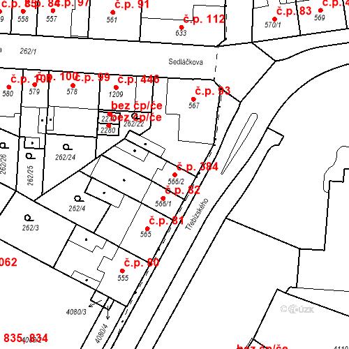 Katastrální mapa Stavební objekt Plzeňské Předměstí 384, Rokycany