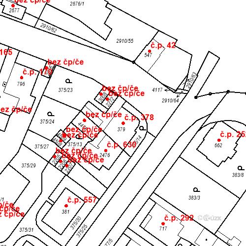 Katastrální mapa Stavební objekt Plzeňské Předměstí 378, Rokycany