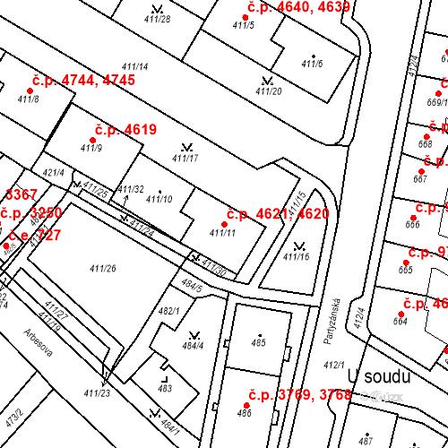 Katastrální mapa Stavební objekt Chomutov 4620, 4621, Chomutov