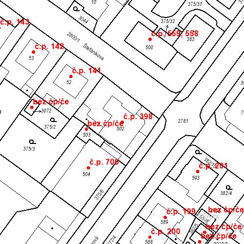 Katastrální mapa Stavební objekt Plzeňské Předměstí 398, Rokycany