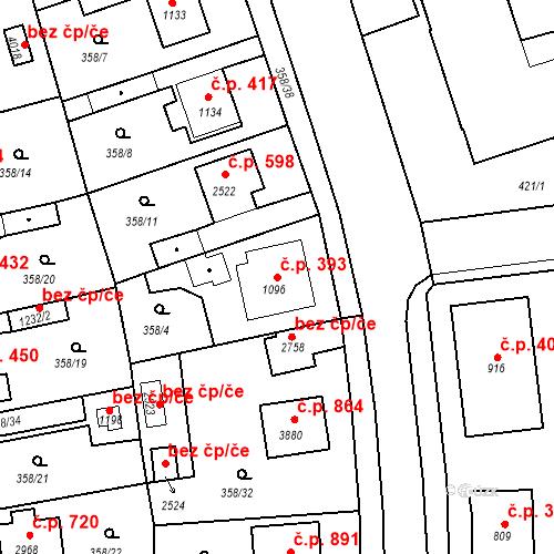 Katastrální mapa Stavební objekt Plzeňské Předměstí 393, Rokycany