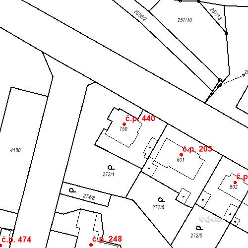Katastrální mapa Stavební objekt Plzeňské Předměstí 440, Rokycany
