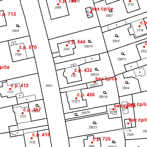 Katastrální mapa Stavební objekt Plzeňské Předměstí 432, Rokycany