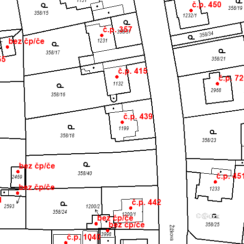 Katastrální mapa Stavební objekt Plzeňské Předměstí 439, Rokycany