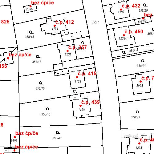 Katastrální mapa Stavební objekt Plzeňské Předměstí 415, Rokycany
