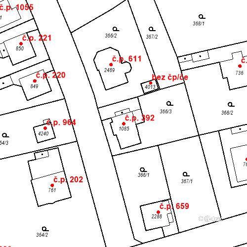 Katastrální mapa Stavební objekt Plzeňské Předměstí 392, Rokycany
