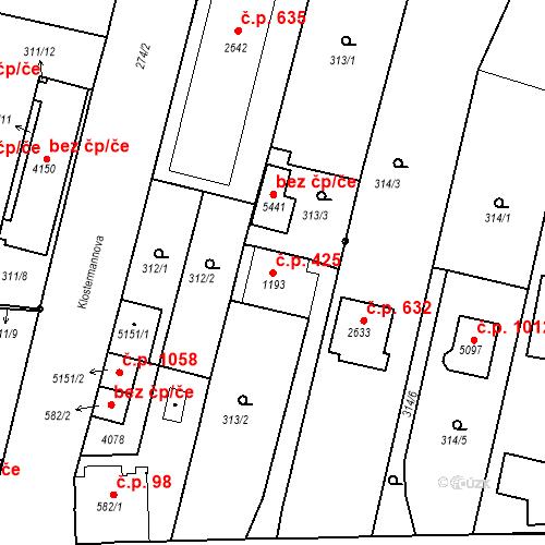 Katastrální mapa Stavební objekt Plzeňské Předměstí 425, Rokycany