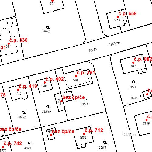 Katastrální mapa Stavební objekt Plzeňské Předměstí 391, Rokycany