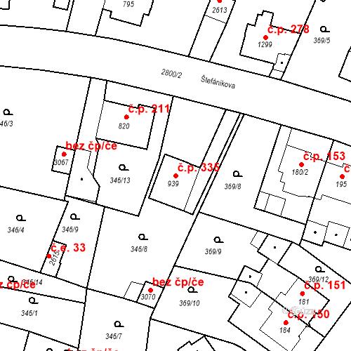 Katastrální mapa Stavební objekt Plzeňské Předměstí 335, Rokycany