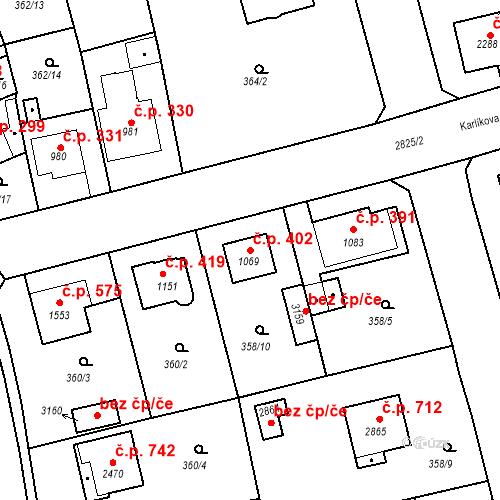 Katastrální mapa Stavební objekt Plzeňské Předměstí 402, Rokycany