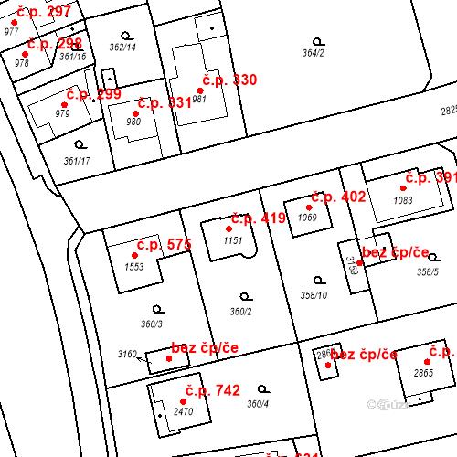 Katastrální mapa Stavební objekt Plzeňské Předměstí 419, Rokycany