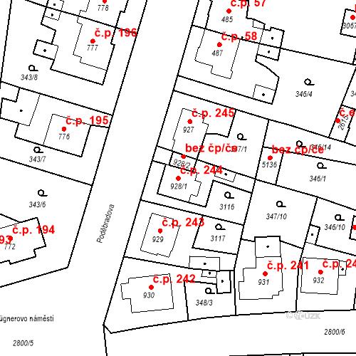 Katastrální mapa Stavební objekt Plzeňské Předměstí 244, Rokycany