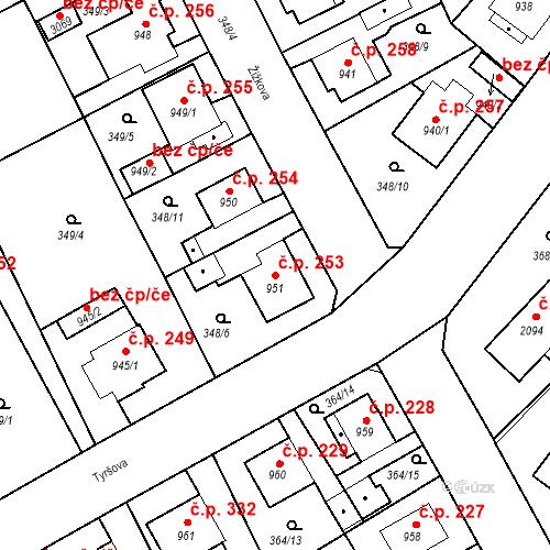 Katastrální mapa Stavební objekt Plzeňské Předměstí 253, Rokycany