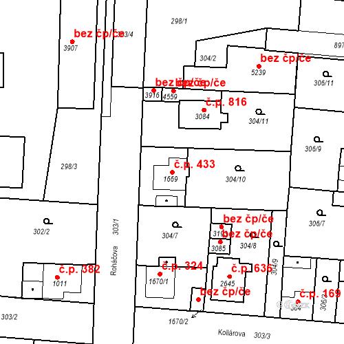 Katastrální mapa Stavební objekt Plzeňské Předměstí 433, Rokycany