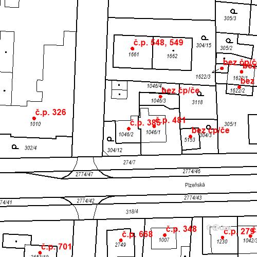 Katastrální mapa Stavební objekt Plzeňské Předměstí 385, Rokycany
