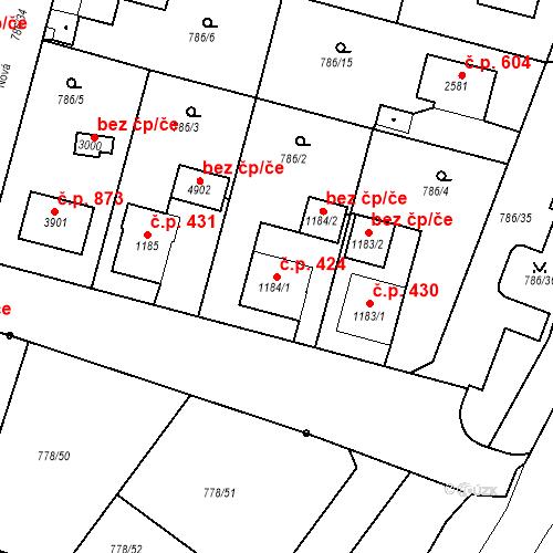 Katastrální mapa Stavební objekt Plzeňské Předměstí 424, Rokycany
