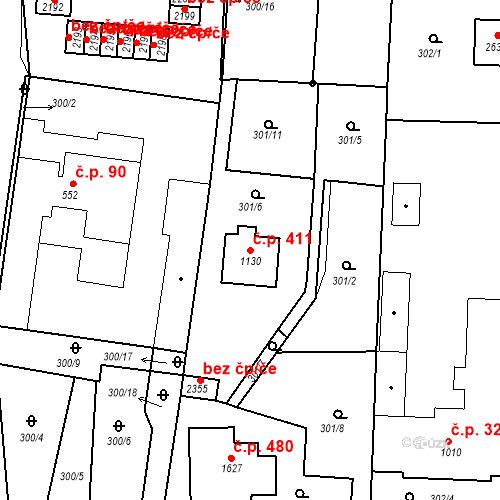 Katastrální mapa Stavební objekt Plzeňské Předměstí 411, Rokycany