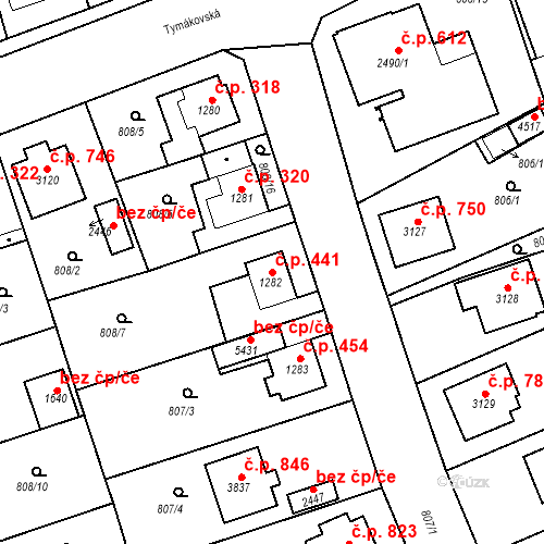 Katastrální mapa Stavební objekt Plzeňské Předměstí 441, Rokycany