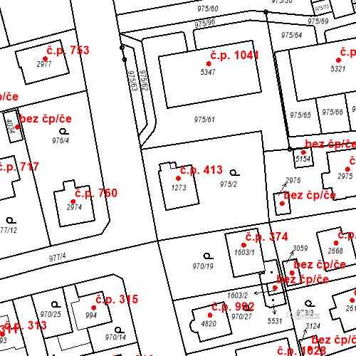 Katastrální mapa Stavební objekt Plzeňské Předměstí 413, Rokycany