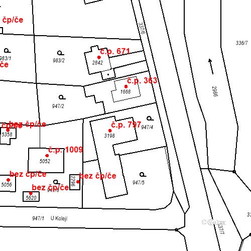 Katastrální mapa Stavební objekt Plzeňské Předměstí 797, Rokycany