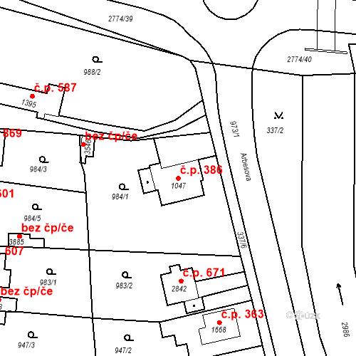 Katastrální mapa Stavební objekt Plzeňské Předměstí 386, Rokycany