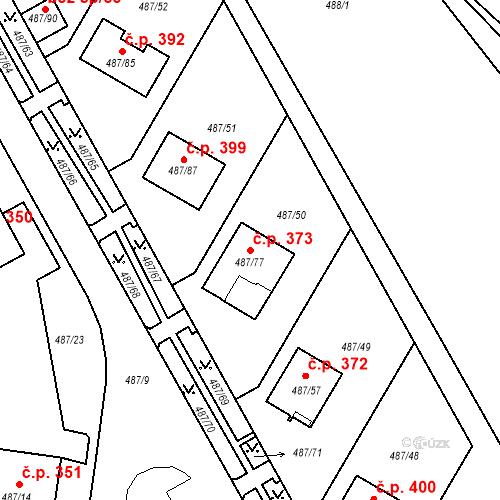 Katastrální mapa Stavební objekt Březno 373, Březno