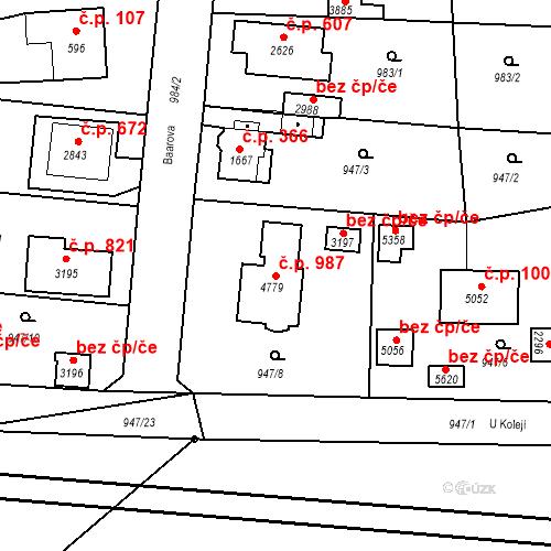 Katastrální mapa Stavební objekt Plzeňské Předměstí 987, Rokycany