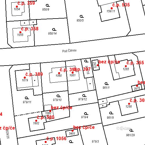 Katastrální mapa Stavební objekt Plzeňské Předměstí 397, Rokycany