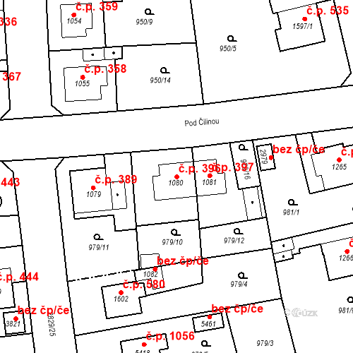 Katastrální mapa Stavební objekt Plzeňské Předměstí 396, Rokycany
