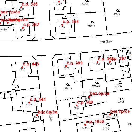 Katastrální mapa Stavební objekt Plzeňské Předměstí 389, Rokycany