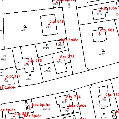 Katastrální mapa Stavební objekt Plzeňské Předměstí 375, Rokycany