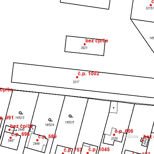 Katastrální mapa Stavební objekt Plzeňské Předměstí 1002, Rokycany