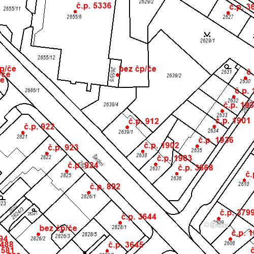 Katastrální mapa Stavební objekt Chomutov 912, Chomutov