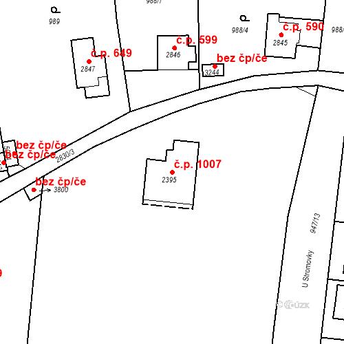 Katastrální mapa Stavební objekt Plzeňské Předměstí 1007, Rokycany