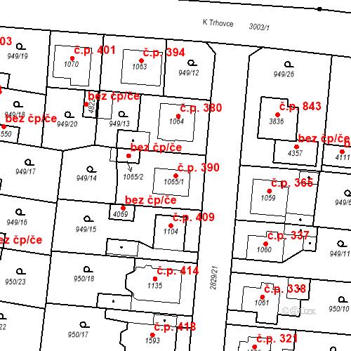 Katastrální mapa Stavební objekt Plzeňské Předměstí 390, Rokycany