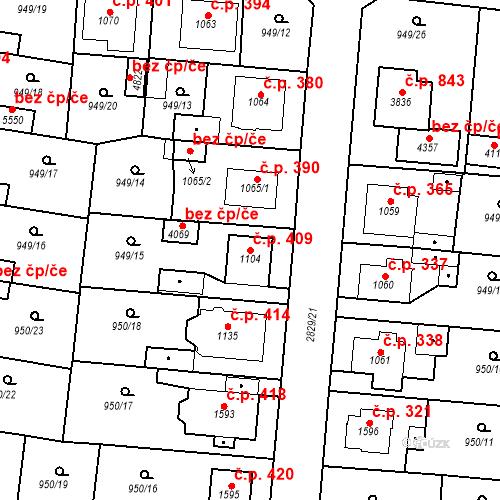 Katastrální mapa Stavební objekt Plzeňské Předměstí 409, Rokycany