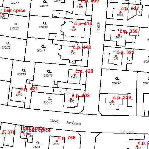 Katastrální mapa Stavební objekt Plzeňské Předměstí 420, Rokycany