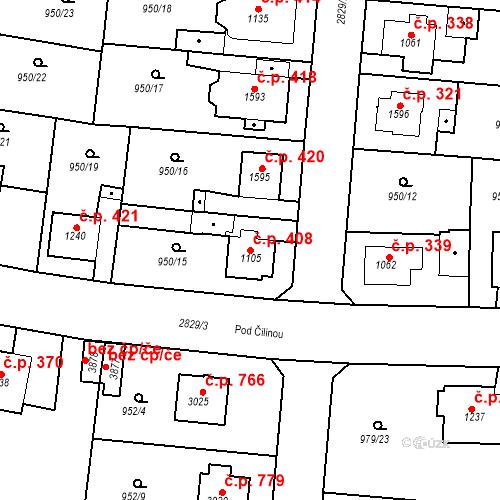 Katastrální mapa Stavební objekt Plzeňské Předměstí 408, Rokycany