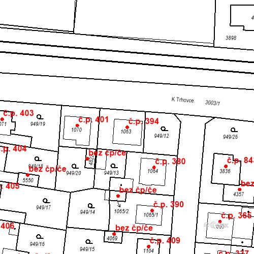 Katastrální mapa Stavební objekt Plzeňské Předměstí 394, Rokycany