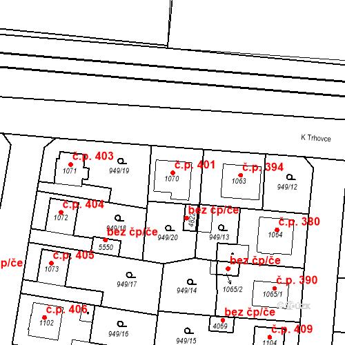 Katastrální mapa Stavební objekt Plzeňské Předměstí 401, Rokycany