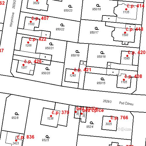 Katastrální mapa Stavební objekt Plzeňské Předměstí 421, Rokycany