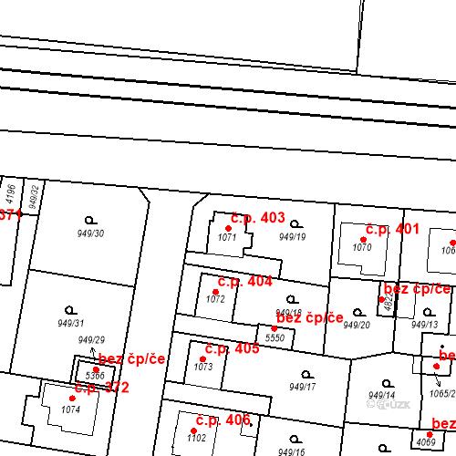 Katastrální mapa Stavební objekt Plzeňské Předměstí 403, Rokycany